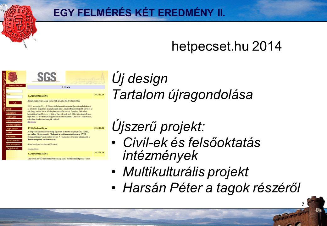 5 EGY FELMÉRÉS KÉT EREDMÉNY II. hetpecset.hu 2014 Új design Tartalom újragondolása Újszerű projekt: Civil-ek és felsőoktatás intézmények Multikulturál