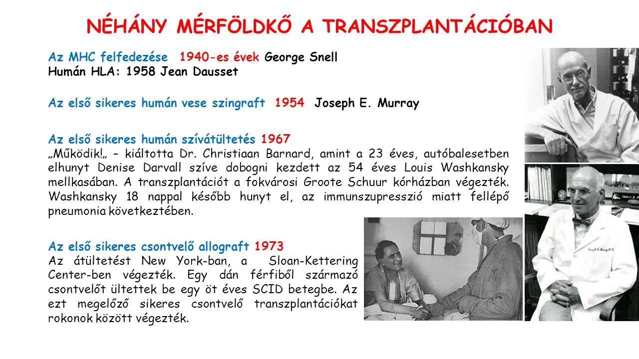 Az MHC felfedezése 1940-es évek George Snell Humán HLA: 1958 Jean Dausset Az első sikeres humán vese szingraft 1954 Joseph E.