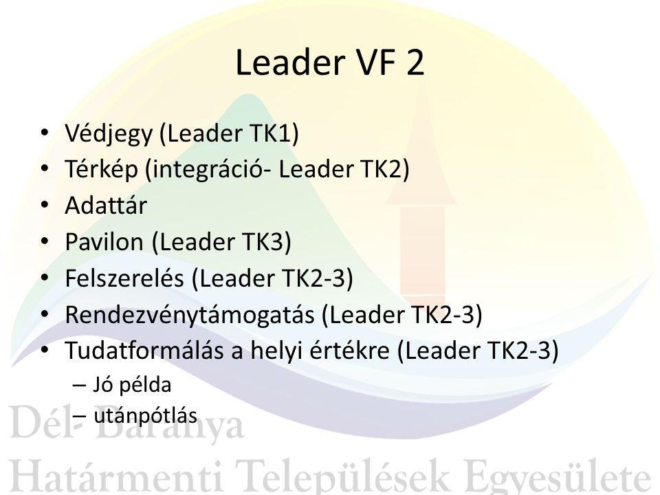 Leader VF 2 Védjegy (Leader TK1) Térkép (integráció- Leader TK2) Adattár Pavilon (Leader TK3) Felszerelés (Leader TK2-3) Rendezvénytámogatás (Leader TK2-3) Tudatformálás a helyi értékre (Leader TK2-3) – Jó példa – utánpótlás