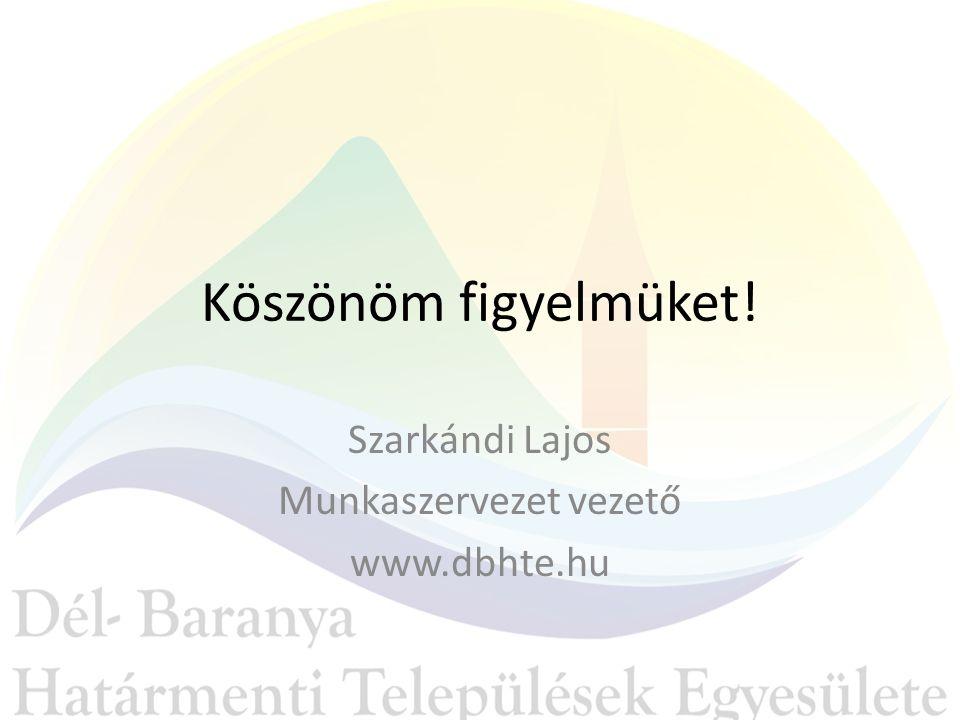 Köszönöm figyelmüket! Szarkándi Lajos Munkaszervezet vezető www.dbhte.hu