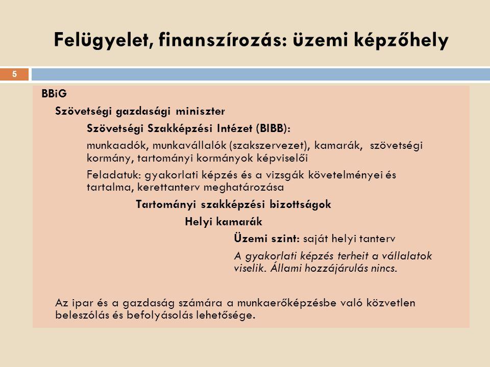 Felügyelet, finanszírozás: üzemi képzőhely BBiG Szövetségi gazdasági miniszter Szövetségi Szakképzési Intézet (BIBB): munkaadók, munkavállalók (szaksz