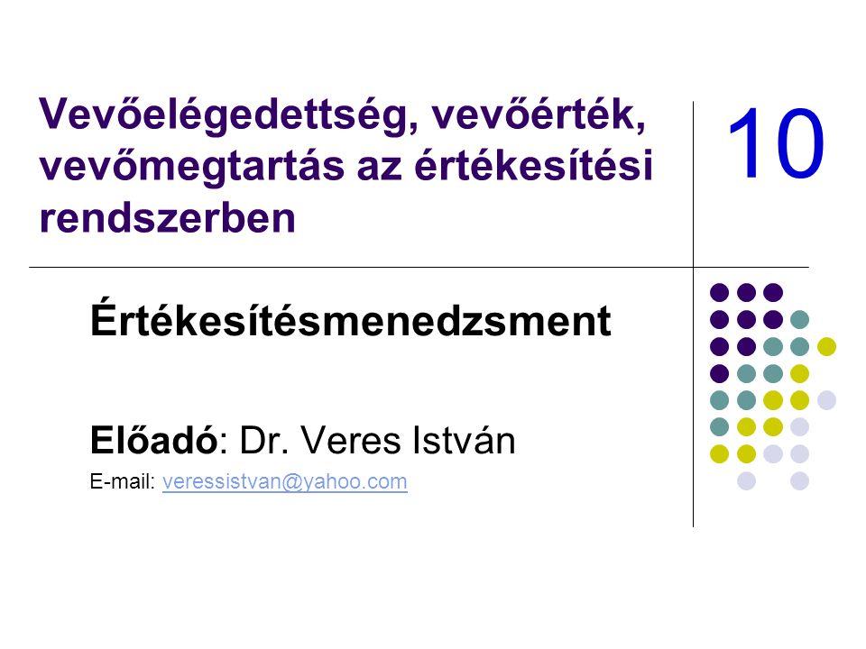 Vevőelégedettség, vevőérték, vevőmegtartás az értékesítési rendszerben Értékesítésmenedzsment Előadó: Dr.