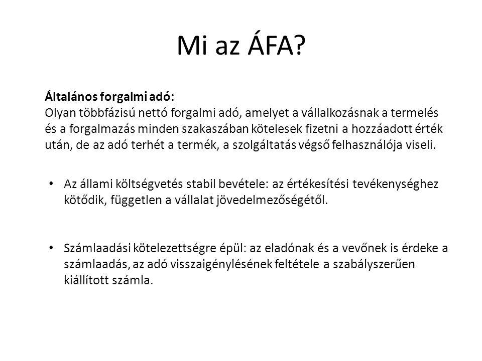 ÁFA jellemzői Általános: normatív, a forgalmazás teljes folyamatát átfogja.