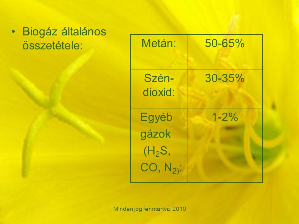 Minden jog fenntartva, 2010 Biogáz általános összetétele: Metán:50-65% Szén- dioxid: 30-35% Egyéb gázok (H 2 S, CO, N 2) : 1-2%