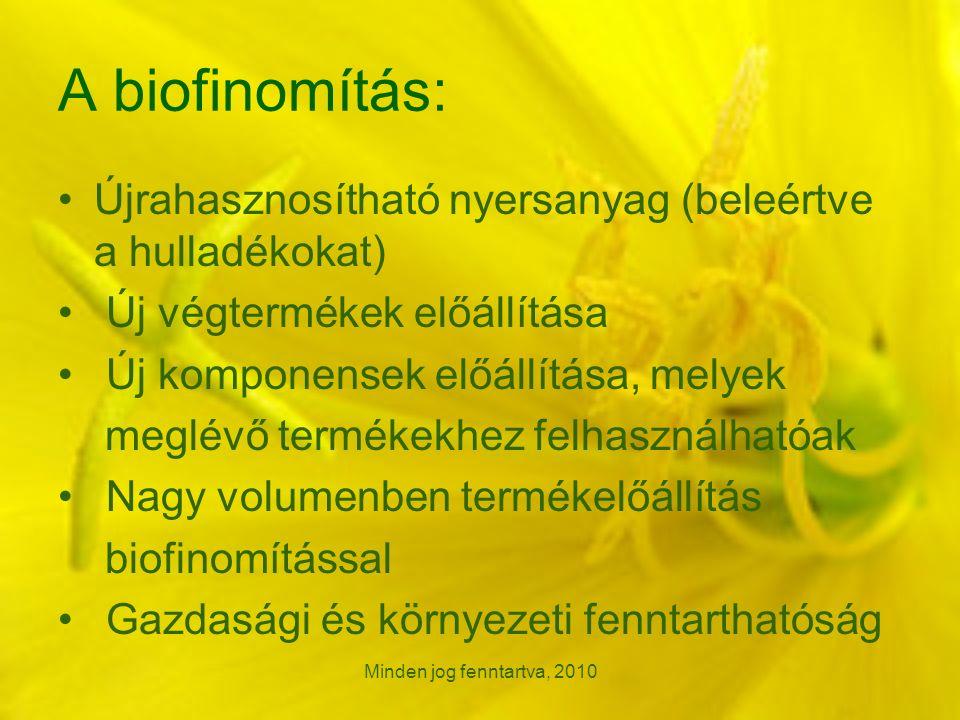 A biofinomítás: Újrahasznosítható nyersanyag (beleértve a hulladékokat) Új végtermékek előállítása Új komponensek előállítása, melyek meglévő termékekhez felhasználhatóak Nagy volumenben termékelőállítás biofinomítással Gazdasági és környezeti fenntarthatóság Minden jog fenntartva, 2010