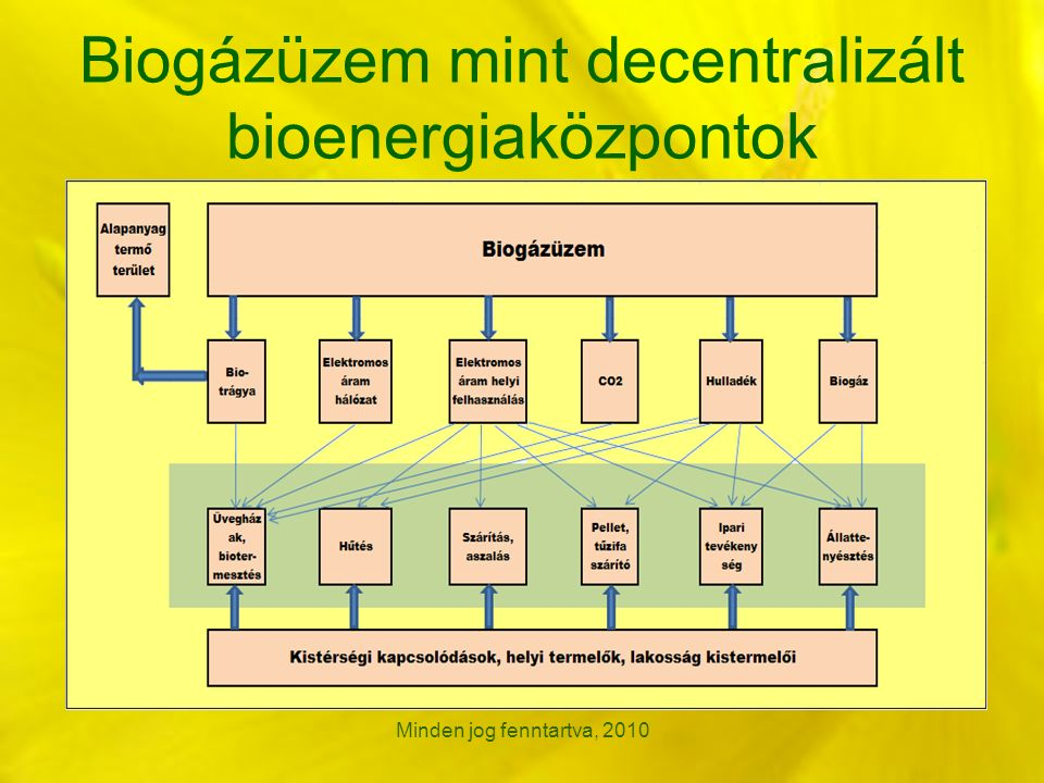 Biogázüzem mint decentralizált bioenergiaközpontok Minden jog fenntartva, 2010