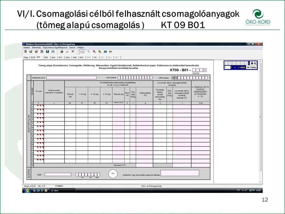 VI/I. Csomagolási célból felhasznált csomagolóanyagok (tömeg alapú csomagolás ) KT 09 B01 12
