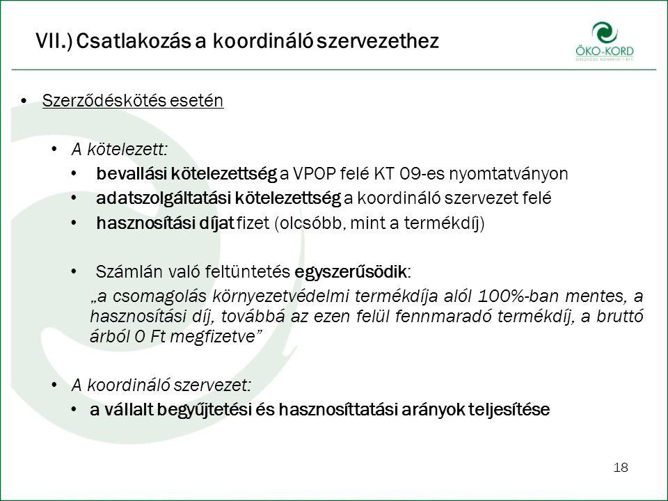 18 VII.) Csatlakozás a koordináló szervezethez Szerződéskötés esetén A kötelezett: bevallási kötelezettség a VPOP felé KT 09-es nyomtatványon adatszol