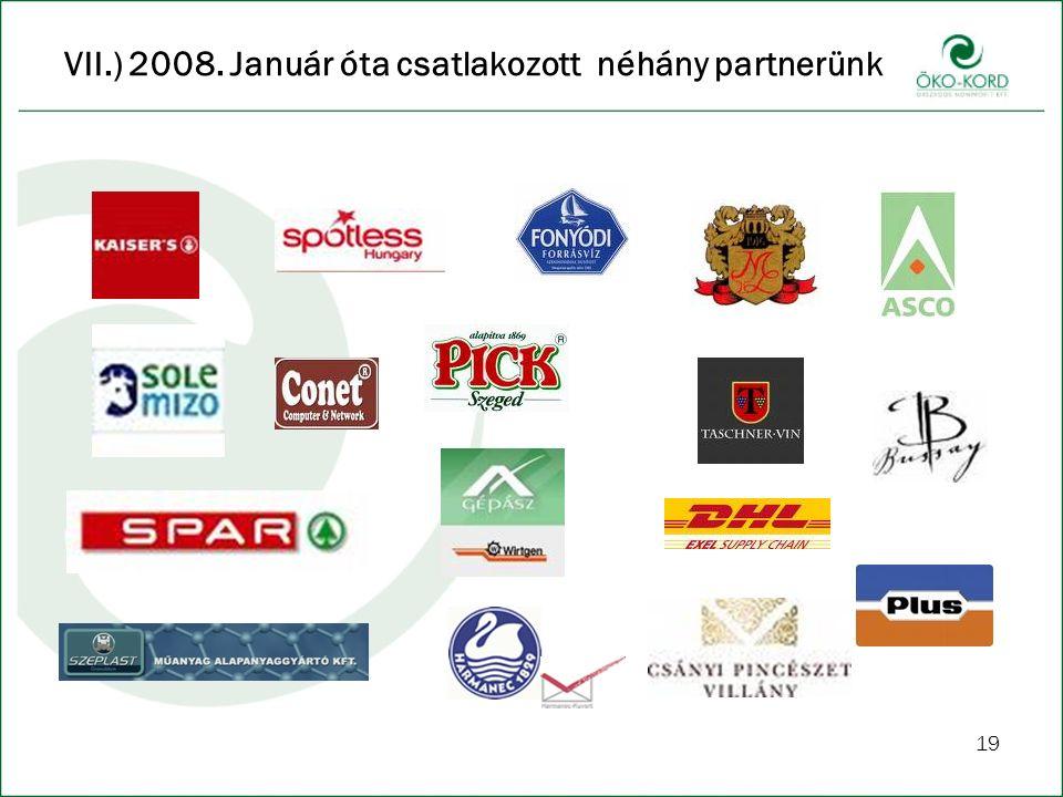 VII.) 2008. Január óta csatlakozott néhány partnerünk 19