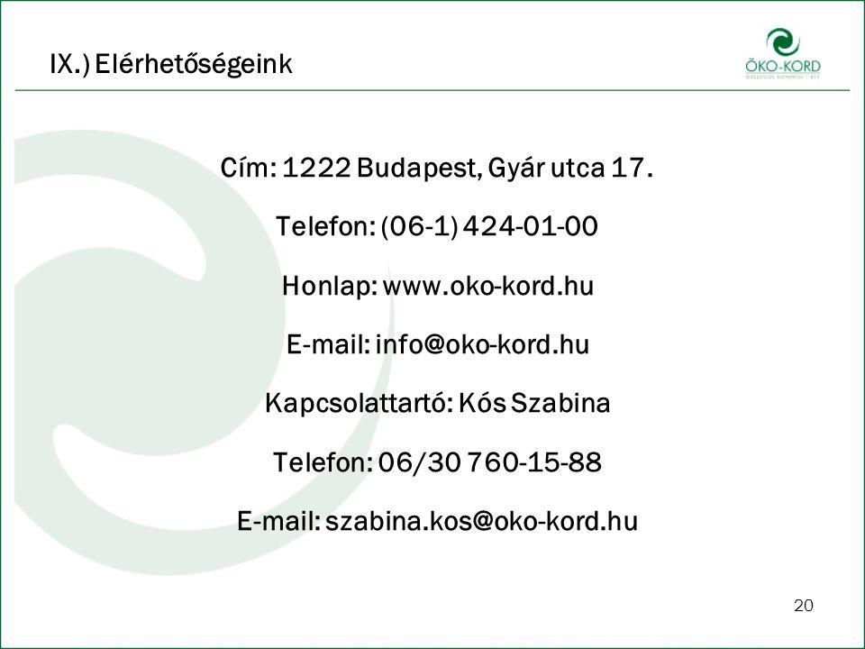 20 Cím: 1222 Budapest, Gyár utca 17. Telefon: (06-1) 424-01-00 Honlap: www.oko-kord.hu E-mail: info@oko-kord.hu Kapcsolattartó: Kós Szabina Telefon: 0