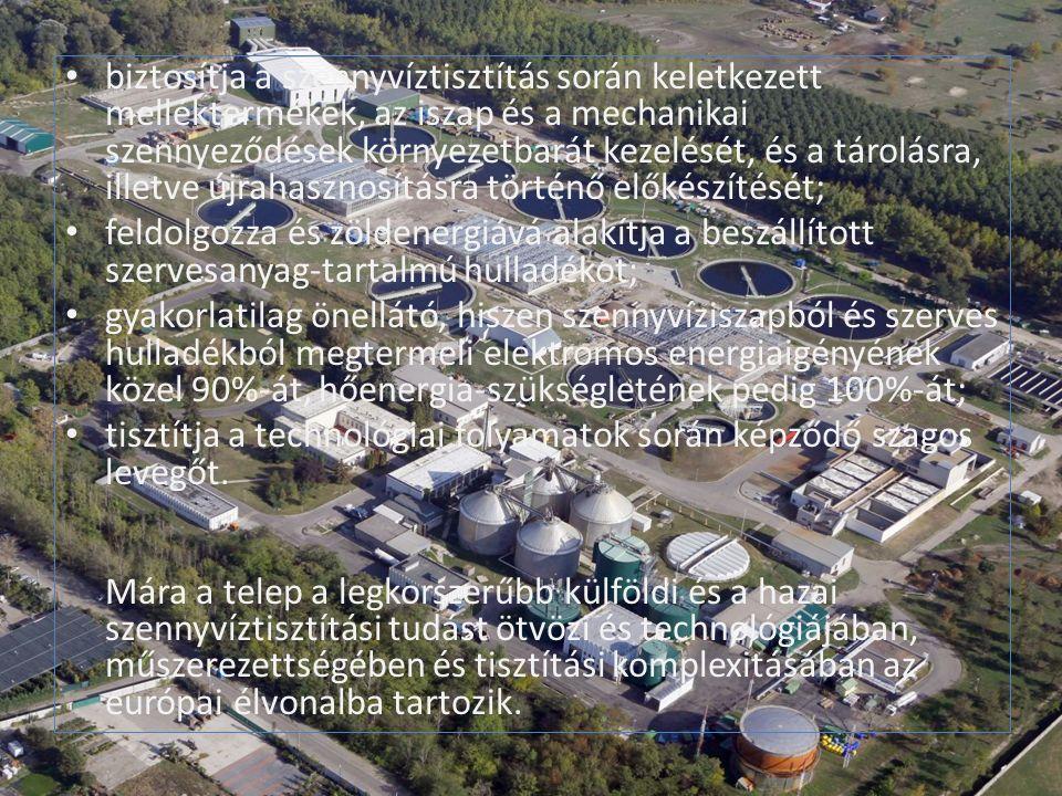 biztosítja a szennyvíztisztítás során keletkezett melléktermékek, az iszap és a mechanikai szennyeződések környezetbarát kezelését, és a tárolásra, illetve újrahasznosításra történő előkészítését; feldolgozza és zöldenergiává alakítja a beszállított szervesanyag-tartalmú hulladékot; gyakorlatilag önellátó, hiszen szennyvíziszapból és szerves hulladékból megtermeli elektromos energiaigényének közel 90%-át, hőenergia-szükségletének pedig 100%-át; tisztítja a technológiai folyamatok során képződő szagos levegőt.