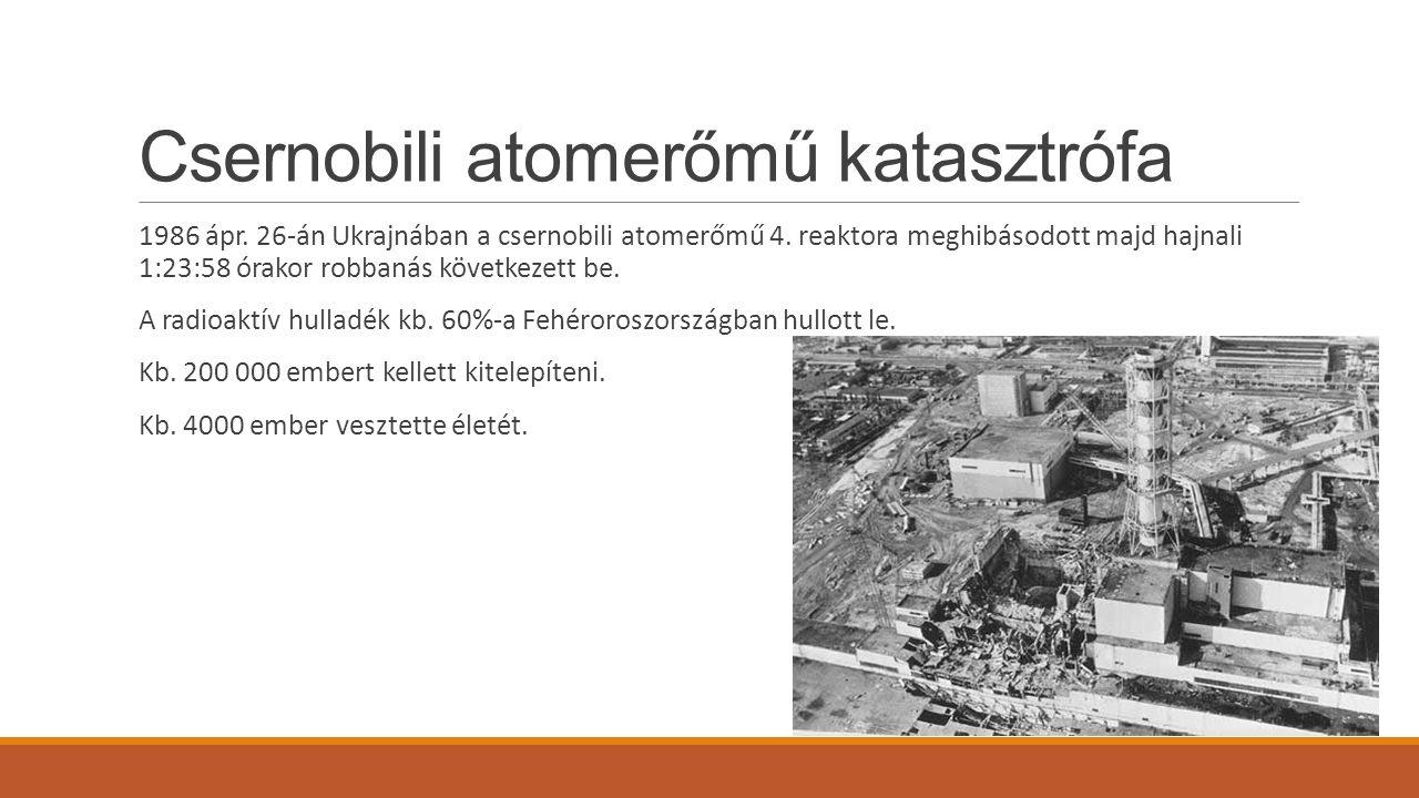 Csernobili atomerőmű katasztrófa 1986 ápr. 26-án Ukrajnában a csernobili atomerőmű 4. reaktora meghibásodott majd hajnali 1:23:58 órakor robbanás köve