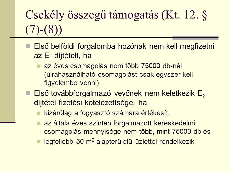 Csekély összegű támogatás (Kt.12.