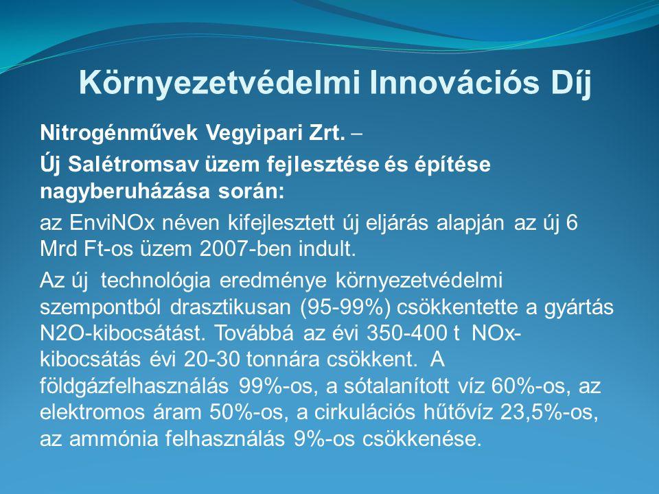 Környezetvédelmi Innovációs Díj Nitrogénművek Vegyipari Zrt.  Új Salétromsav üzem fejlesztése és építése nagyberuházása során: az EnviNOx néven kifej