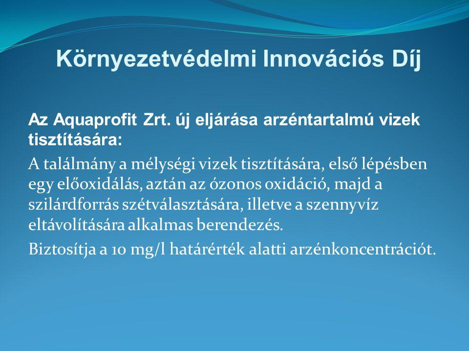 Környezetvédelmi Innovációs Díj Az Aquaprofit Zrt.