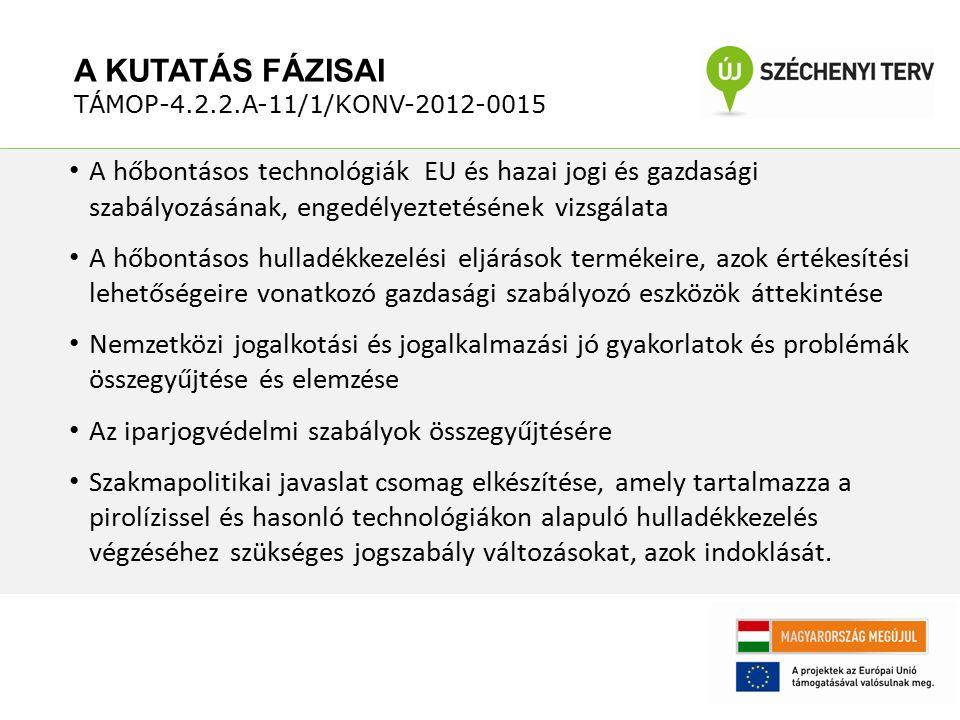 A hőbontásos technológiák EU és hazai jogi és gazdasági szabályozásának, engedélyeztetésének vizsgálata A hőbontásos hulladékkezelési eljárások termék
