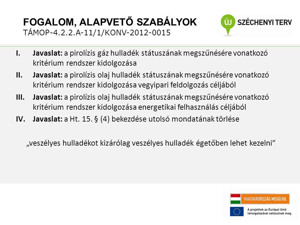 I.Javaslat: a pirolízis gáz hulladék státuszának megszűnésére vonatkozó kritérium rendszer kidolgozása II.Javaslat: a pirolízis olaj hulladék státuszának megszűnésére vonatkozó kritérium rendszer kidolgozása vegyipari feldolgozás céljából III.Javaslat: a pirolízis olaj hulladék státuszának megszűnésére vonatkozó kritérium rendszer kidolgozása energetikai felhasználás céljából IV.Javaslat: a Ht.