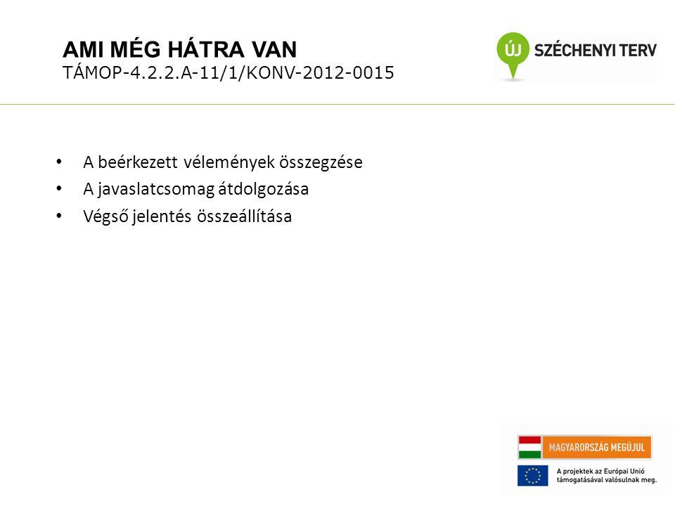 AMI MÉG HÁTRA VAN TÁMOP-4.2.2.A-11/1/KONV-2012-0015 A beérkezett vélemények összegzése A javaslatcsomag átdolgozása Végső jelentés összeállítása