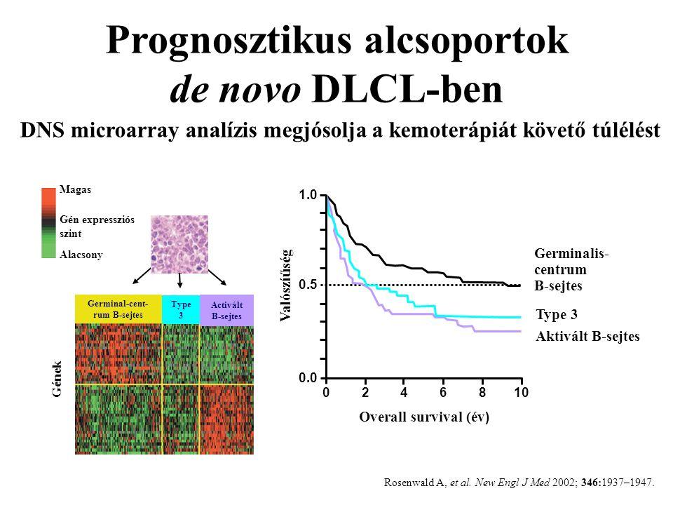 Prognosztikus alcsoportok de novo DLCL-ben DNS microarray analízis megjósolja a kemoterápiát követő túlélést Magas Gén expressziós szint Alacsony Type 3 Activált B-sejtes Gének Aktivált B-sejtes Type 3 Germinalis- centrum B-sejtes Overall survival (év ) Valószíűség 0246810 1.0 0.5 0.0 Rosenwald A, et al.