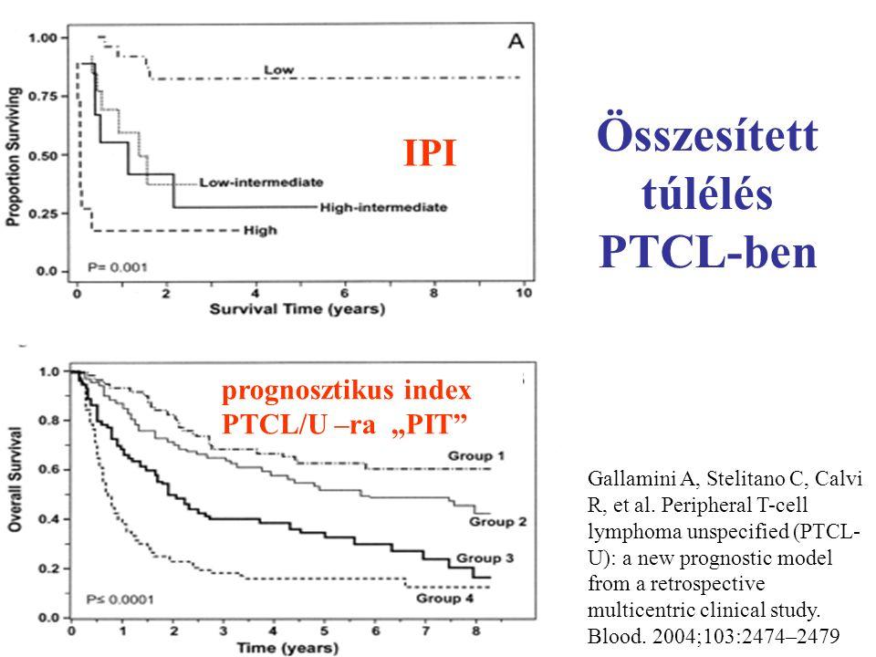 """IPI prognosztikus index PTCL/U –ra """"PIT Összesített túlélés PTCL-ben Gallamini A, Stelitano C, Calvi R, et al."""