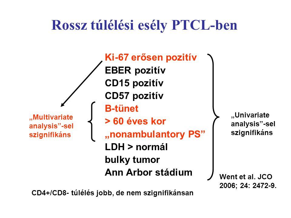 """Ki-67 erősen pozitív EBER pozitív CD15 pozitív CD57 pozitív B-tünet > 60 éves kor """"nonambulantory PS LDH > normál bulky tumor Ann Arbor stádium """"Univariate analysis -sel szignifikáns """"Multivariate analysis -sel szignifikáns CD4+/CD8- túlélés jobb, de nem szignifikánsan Went et al."""