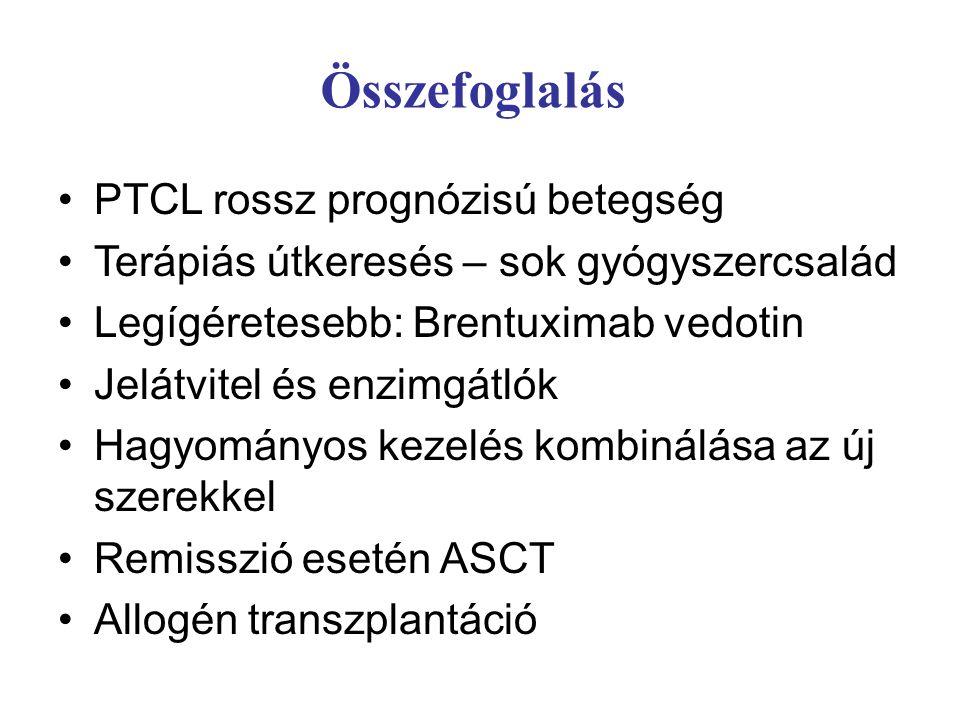 Összefoglalás PTCL rossz prognózisú betegség Terápiás útkeresés – sok gyógyszercsalád Legígéretesebb: Brentuximab vedotin Jelátvitel és enzimgátlók Hagyományos kezelés kombinálása az új szerekkel Remisszió esetén ASCT Allogén transzplantáció