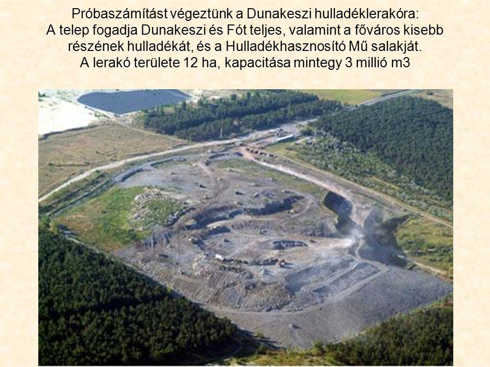 Próbaszámítást végeztünk a Dunakeszi hulladéklerakóra: A telep fogadja Dunakeszi és Fót teljes, valamint a főváros kisebb részének hulladékát, és a Hulladékhasznosító Mű salakját.