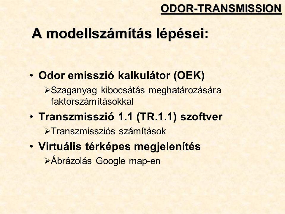 A modellszámítás lépései A modellszámítás lépései: Odor emisszió kalkulátor (OEK)  Szaganyag kibocsátás meghatározására faktorszámításokkal Transzmisszió 1.1 (TR.1.1) szoftver  Transzmissziós számítások Virtuális térképes megjelenítés  Ábrázolás Google map-enODOR-TRANSMISSION