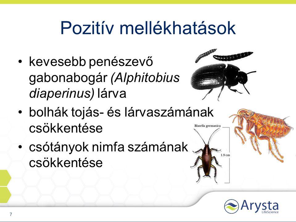 Pozitív mellékhatások kevesebb penészevő gabonabogár (Alphitobius diaperinus) lárva bolhák tojás- és lárvaszámának csökkentése csótányok nimfa számának csökkentése 7