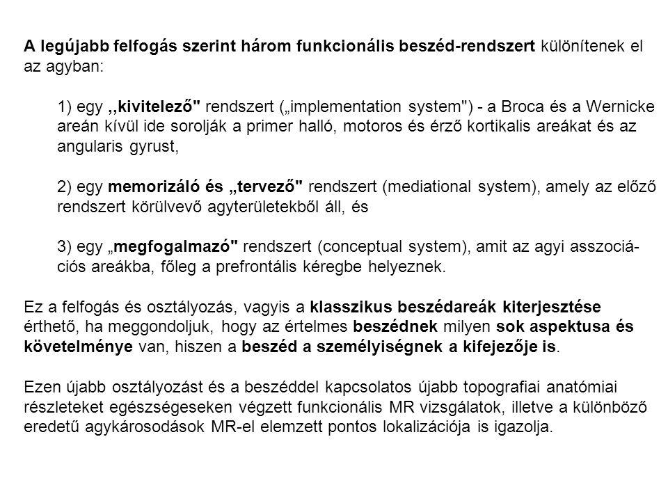 """A legújabb felfogás szerint három funkcionális beszéd-rendszert különítenek el az agyban: 1) egy,,kivitelező rendszert (""""implementation system ) - a Broca és a Wernicke areán kívül ide sorolják a primer halló, motoros és érző kortikalis areákat és az angularis gyrust, 2) egy memorizáló és """"tervező rendszert (mediational system), amely az előző rendszert körülvevő agyterületekből áll, és 3) egy """"megfogalmazó rendszert (conceptual system), amit az agyi asszociá- ciós areákba, főleg a prefrontális kéregbe helyeznek."""