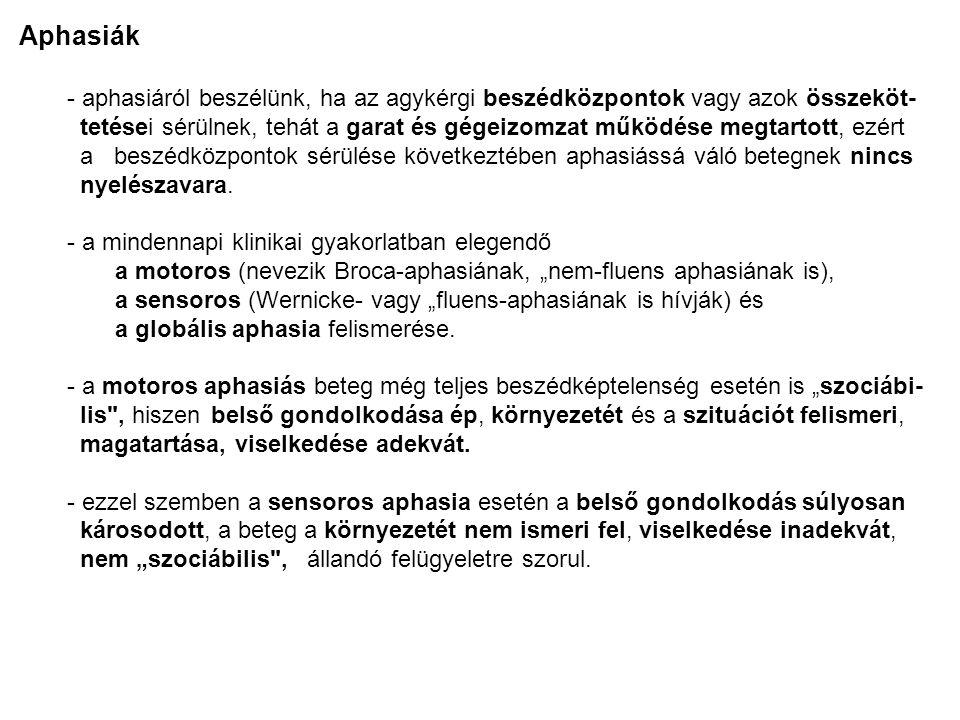 Motoros aphasia - A beteg megérti a vele közölteket, adekvátan végrehajtja a kapott utasításo- kat (pl.