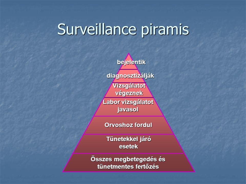 Surveillance piramis bejelentik diagnosztizálják Vizsgálatot végeznek Labor vizsgálatot javasol Orvoshoz fordul Összes megbetegedés és tünetmentes fertőzés Tünetekkel járó esetek