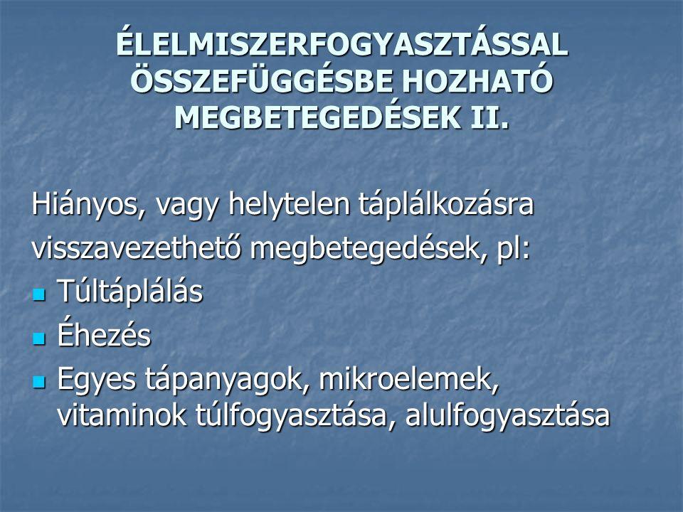 ÉLELMISZERFOGYASZTÁSSAL ÖSSZEFÜGGÉSBE HOZHATÓ MEGBETEGEDÉSEK III.