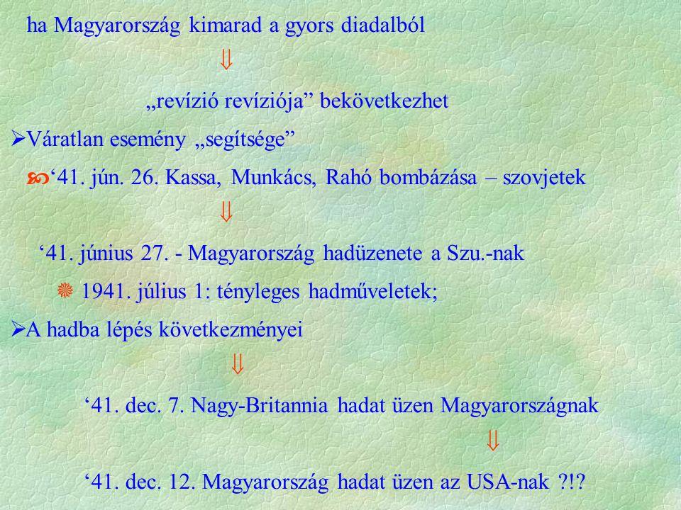 """ha Magyarország kimarad a gyors diadalból  """"revízió revíziója bekövetkezhet  Váratlan esemény """"segítsége  '41."""