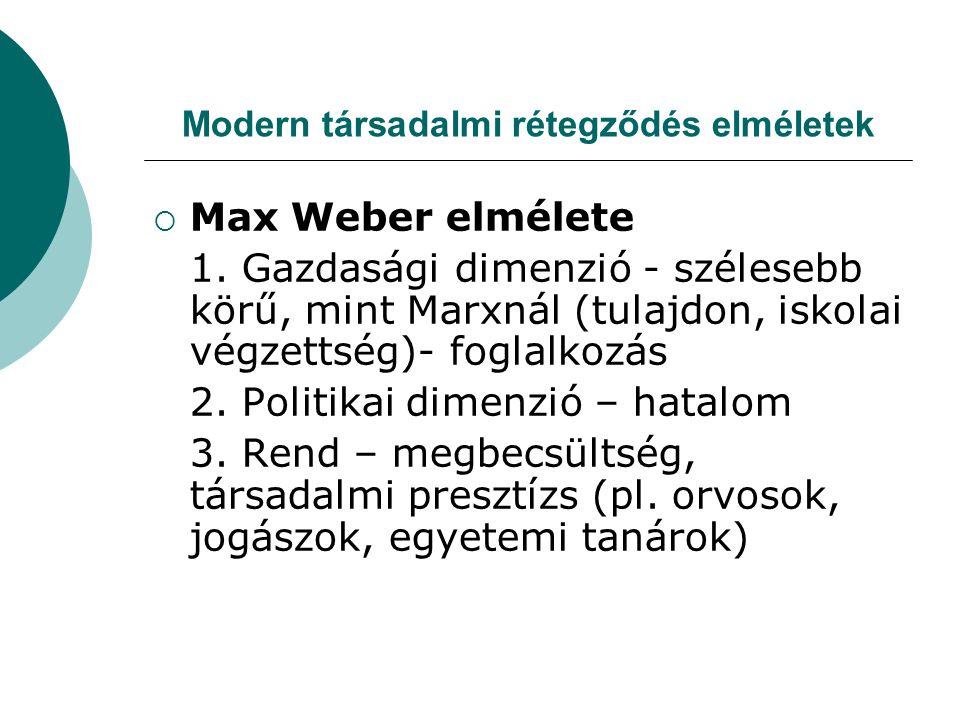 Modern társadalmi rétegződés elméletek  Max Weber elmélete 1.