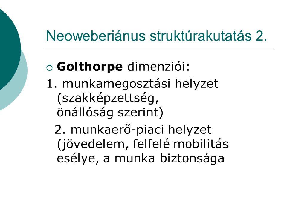 Neoweberiánus struktúrakutatás 2.  Golthorpe dimenziói: 1.