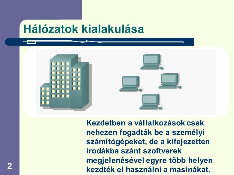2 Hálózatok kialakulása Kezdetben a vállalkozások csak nehezen fogadták be a személyi számítógépeket, de a kifejezetten irodákba szánt szoftverek megjelenésével egyre több helyen kezdték el használni a masinákat.