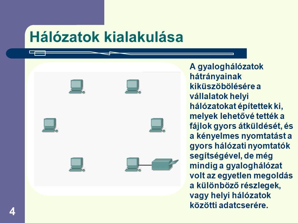 4 Hálózatok kialakulása A gyaloghálózatok hátrányainak kiküszöbölésére a vállalatok helyi hálózatokat építettek ki, melyek lehetővé tették a fájlok gy