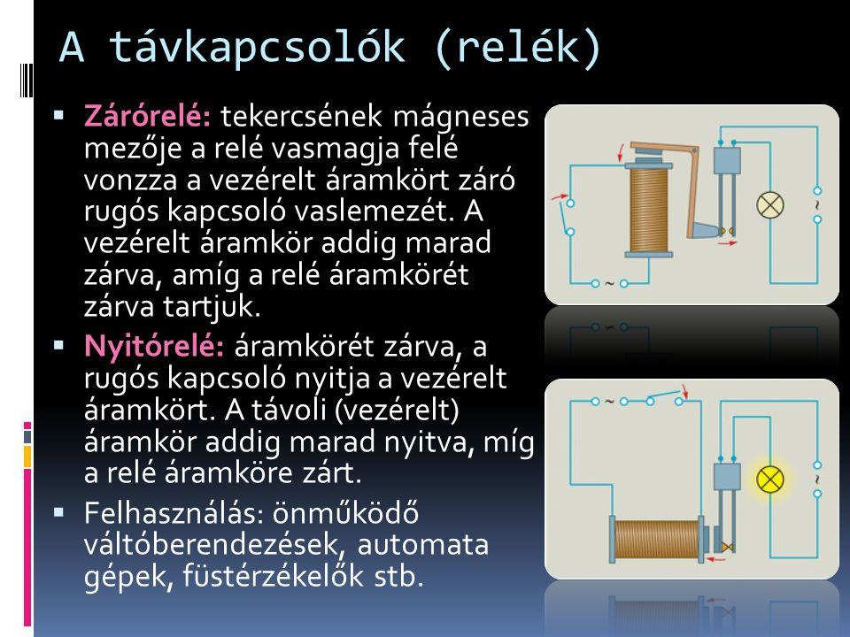 A távkapcsolók (relék)  Zárórelé: tekercsének mágneses mezője a relé vasmagja felé vonzza a vezérelt áramkört záró rugós kapcsoló vaslemezét.