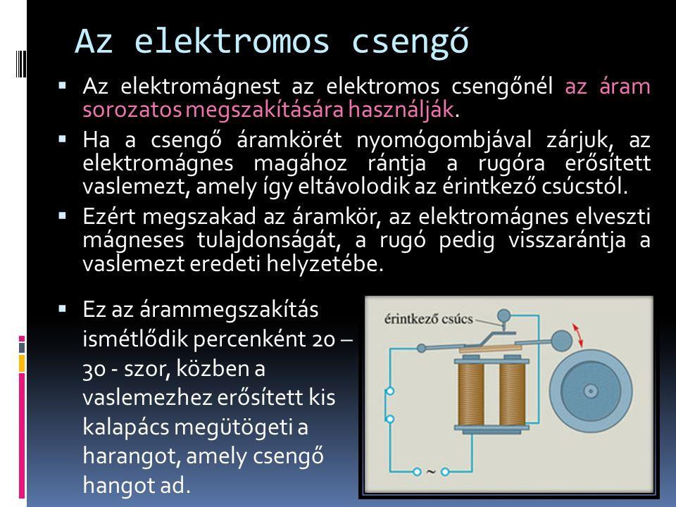Az elektromos csengő  Az elektromágnest az elektromos csengőnél az áram sorozatos megszakítására használják.
