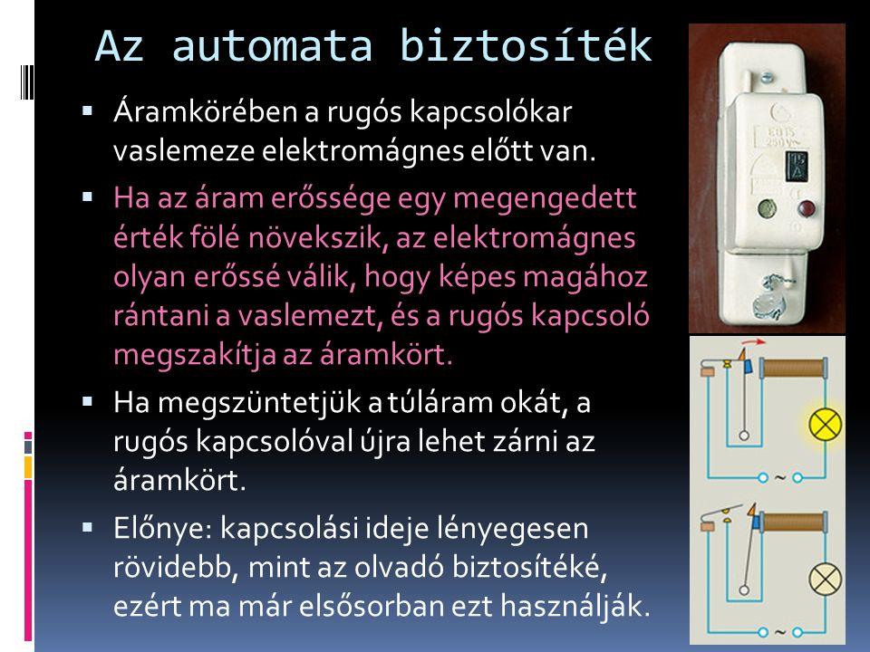 Az automata biztosíték  Áramkörében a rugós kapcsolókar vaslemeze elektromágnes előtt van.