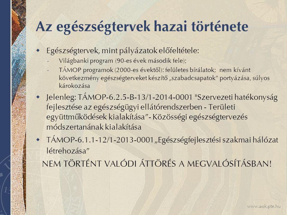 """www.aok.pte.hu Az egészségtervek hazai története  Egészségtervek, mint pályázatok előfeltétele: - Világbanki program (90-es évek második fele); - TÁMOP programok (2000-es évektől) : felületes bírálatok; nem kívánt következmény egészségterveket készítő """"szabadcsapatok portyázása, súlyos károkozása  Jelenleg: TÁMOP-6.2.5-B-13/1-2014-0001 Szervezeti hatékonyság fejlesztése az egészségügyi ellátórendszerben - Területi együttműködések kialakítása - Közösségi egészségtervezés módszertanának kialakítása  TÁMOP-6.1.1-12/1-2013-0001""""Egészségfejlesztési szakmai hálózat létrehozása NEM TÖRTÉNT VALÓDI ÁTTÖRÉS A MEGVALÓSÍTÁSBAN!"""