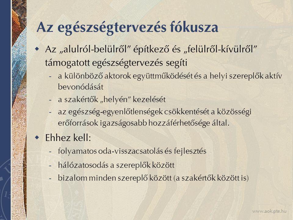 """www.aok.pte.hu Feltételek  Társadalmi normák (benne a jogi normákkal) alakítása – döntéshozói felelősség  Társadalom, helyi társadalmak egészségpolitikát alakító lehetőségeinek, szerepének és felelősségének megteremtése a saját közösségeiken keresztül  Bizalom építése az egyes szereplők között (amely kompetencián és jellemen alapul, legyenek a szereplők egyének vagy intézmények)  Rendszerszemlélet és innováció a módszertanban (és annak érthető, pontos, felhasználóbarát leírása)  Hitelesség, helyi demokratikus gyakorlat, folyamatos """"tanulás , fejlesztés"""