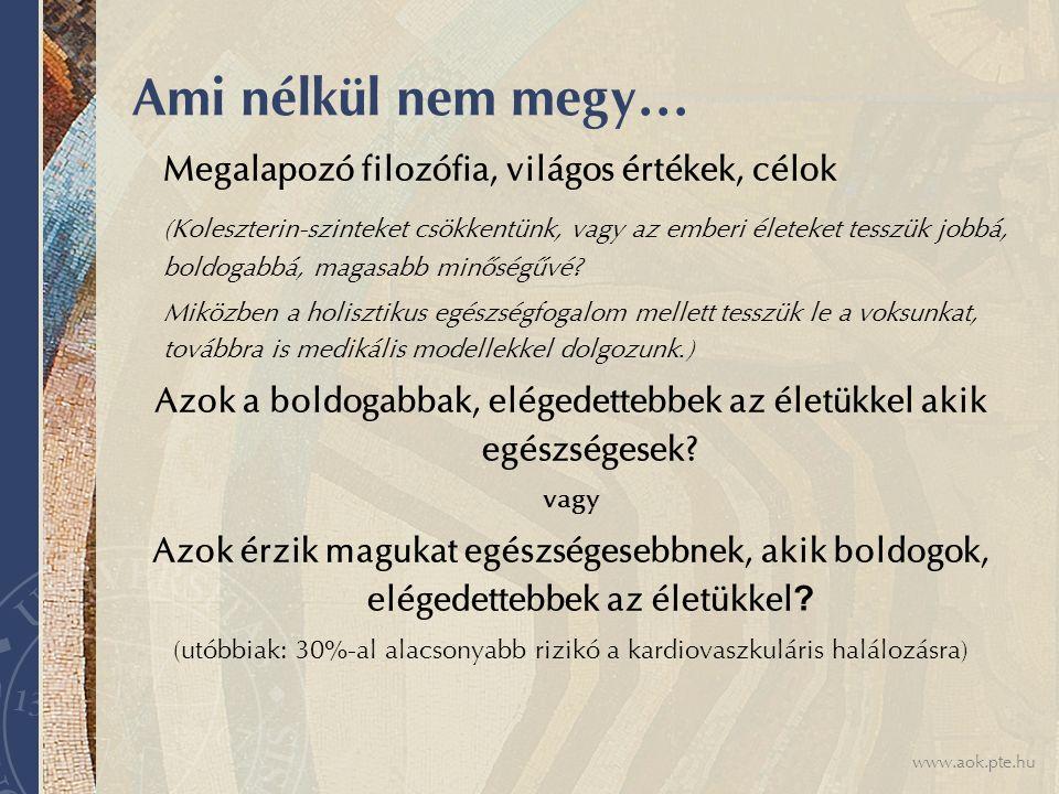 www.aok.pte.hu Ami nélkül nem megy… Megalapozó filozófia, világos értékek, célok (Koleszterin-szinteket csökkentünk, vagy az emberi életeket tesszük jobbá, boldogabbá, magasabb minőségűvé.