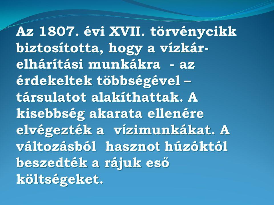 Az 1807. évi XVII. törvénycikk biztosította, hogy a vízkár- elhárítási munkákra - az érdekeltek többségével – társulatot alakíthattak. A kisebbség aka