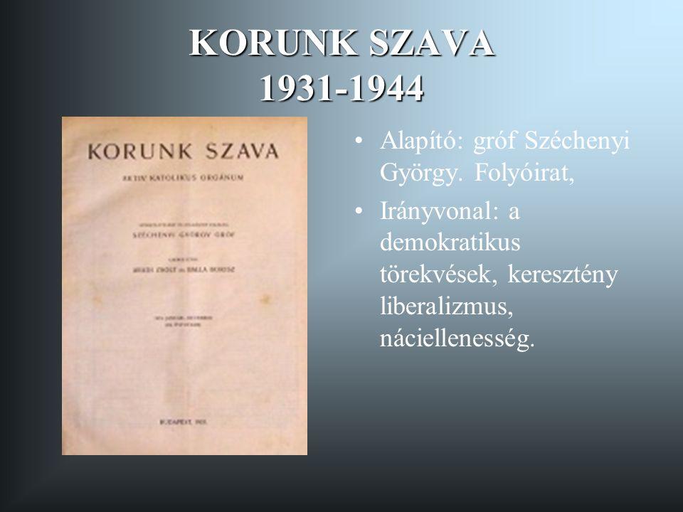 KORUNK SZAVA 1931-1944 Alapító: gróf Széchenyi György.