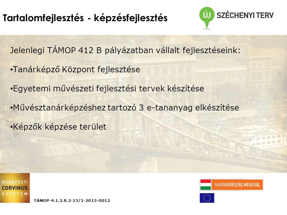 Tartalomfejlesztés - képzésfejlesztés TÁMOP-4.1.2.B.2-13/1-2013-0012 Jelenlegi TÁMOP 412 B pályázatban vállalt fejlesztéseink: Tanárképző Központ fejlesztése Egyetemi művészeti fejlesztési tervek készítése Művésztanárképzéshez tartozó 3 e-tananyag elkészítése Képzők képzése terület