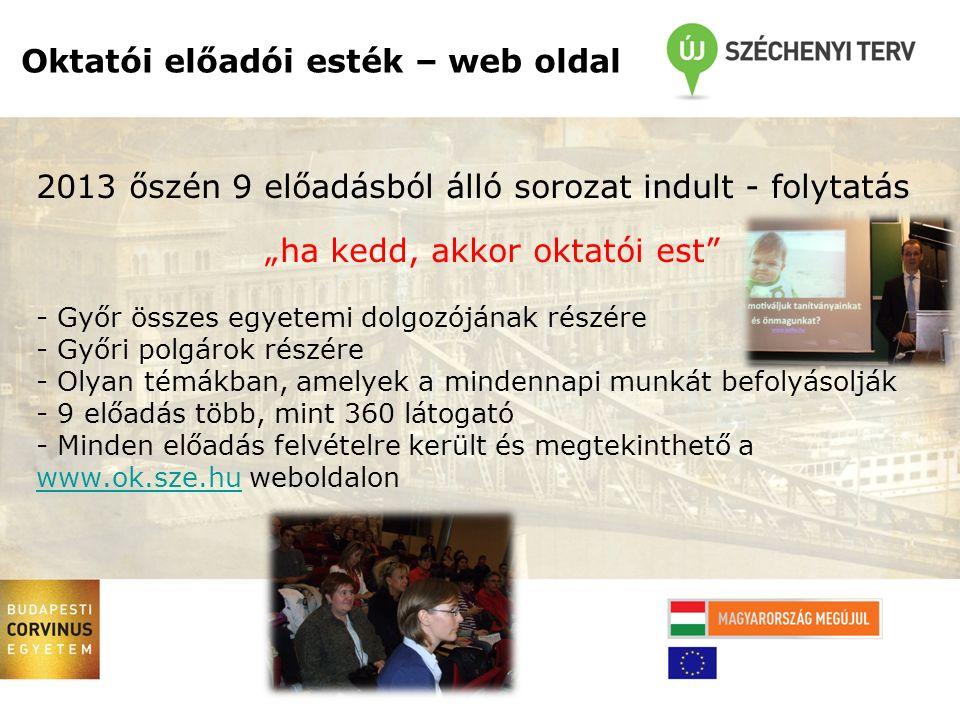 """2013 őszén 9 előadásból álló sorozat indult - folytatás """"ha kedd, akkor oktatói est - Győr összes egyetemi dolgozójának részére - Győri polgárok részére - Olyan témákban, amelyek a mindennapi munkát befolyásolják - 9 előadás több, mint 360 látogató - Minden előadás felvételre került és megtekinthető a www.ok.sze.hu weboldalon www.ok.sze.hu Oktatói előadói esték – web oldal"""