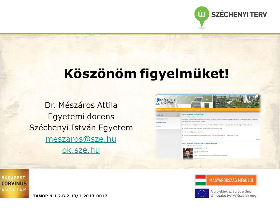 TÁMOP-4.1.2.B.2-13/1-2013-0012 Köszönöm figyelmüket! Dr. Mészáros Attila Egyetemi docens Széchenyi István Egyetem meszaros@sze.hu ok.sze.hu