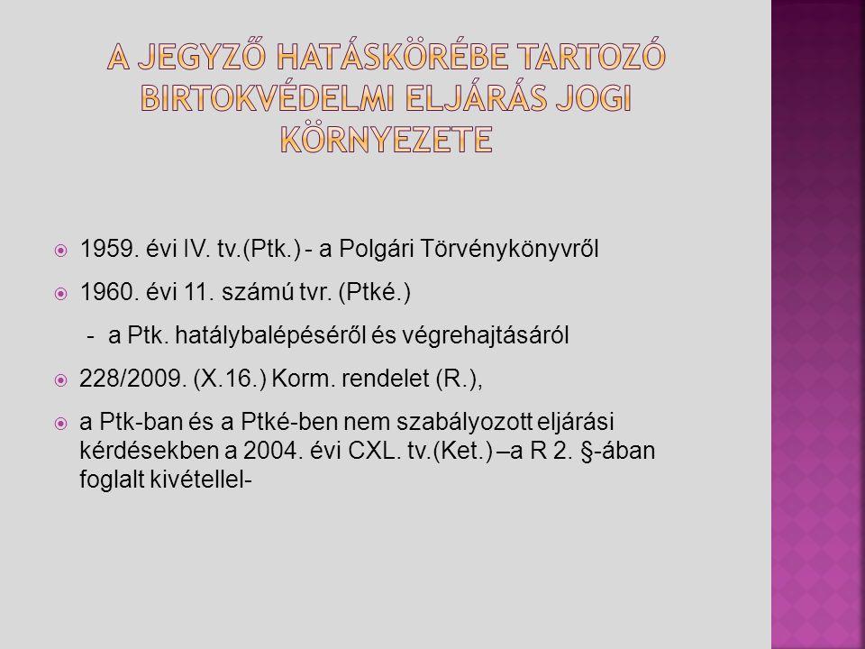  1959. évi IV. tv.(Ptk.) - a Polgári Törvénykönyvről  1960. évi 11. számú tvr. (Ptké.) - a Ptk. hatálybalépéséről és végrehajtásáról  228/2009. (X.